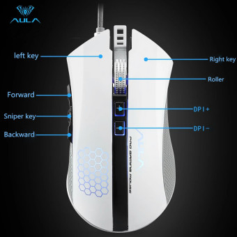 AULA OFFICIAL PIONEER Sniper Key Removable Counterweight 5000 DPI With 6 Colors Gaming Mouse (White) - Intl