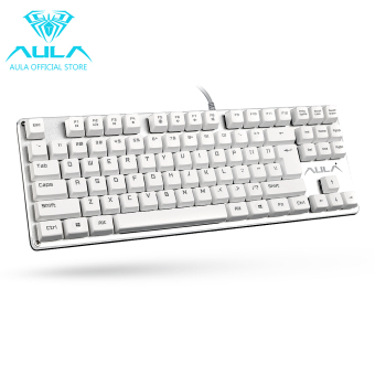 AULA Resmi F2012 Keyboard Kabel USB Keyboard Gaming Mekanikal(Putih)