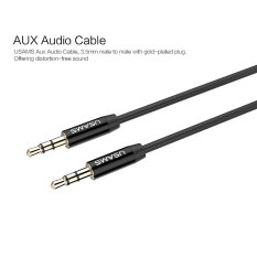 Aux Cable Car 3.5mm To 3.5mm Jack Audio Cable Kabel Male To Male USAMS 1m Gold Plated Plug Aux Cord For Iphone Samsung (Black)