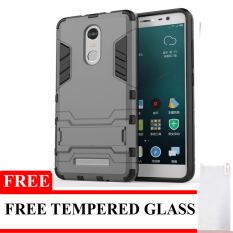 Back Case Xiaomi Redmi Note 3 Pro Iron Man Kick Stand Series + Tempered Glass - Grey