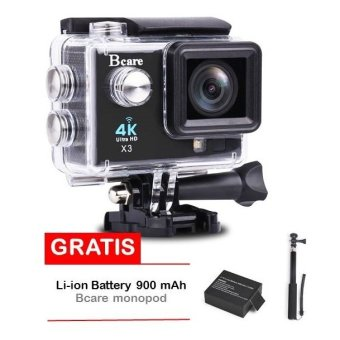 Bcare Action Camera - B-Cam X-3 WiFi - 16MP - Full HD 4K - Sony Sensor - With LED lamp - Hitam + Gratis Li-ion Battery 900 mAh + Monopod