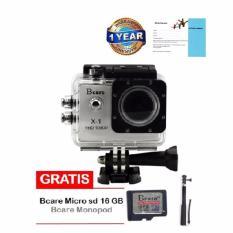 Bcare B-Cam X-1 Action Camera - 12 MP - Silver + Gratis Micro SD 16 GB Class 10 + Monopod