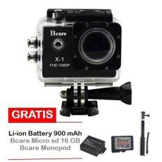 Bcare X-1 Action Camera - 12 MP - Hitam + Gratis Micro SD 16 GB Class 10 + Monopod + Battery 900 mAh