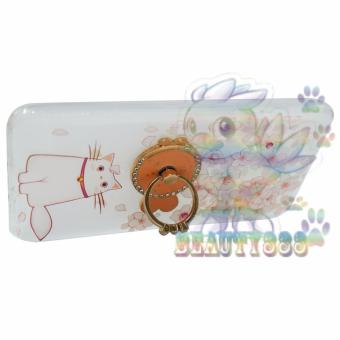 Swarovski Animasi Cat Cute With Flowers + Holder Ring Fish Soft Case /