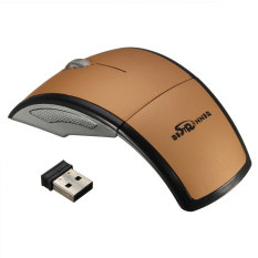Bestrunner 2.4G USB Receiver Wireless Foldable Arc Optical Mouse For PC Laptop Gold