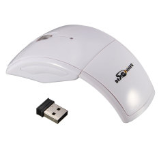 Bestrunner 2.4G USB Receiver Wireless Foldable Arc Optical Mouse For PC Laptop White