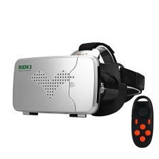 Black RITECH RIEM 3 VR Virtual Reality Headset 3D Glasses With Black Remote Control- Intl