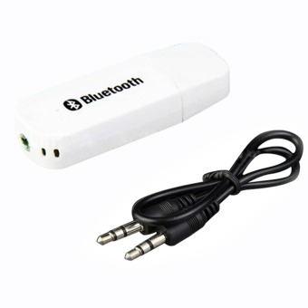Bluetooth 2,1 + EDR USB 3.5 mm Stereo Audio musik pembicara adaptorreceiver Dongle (putih)