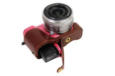 Bottom Opening Version Protective Genuine Real Leather Half Camera Case Bag Cover With Tripod Design For Sony ILCE5100 A5100 Camera With Hand Strap (Dark Brown)