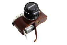Bottom Opening Version Protective PU Leather Half Camera Case Bag Cover With Tripod Design For Olympus PEN Lite E-PL7 EPL7 Camera With Hand Strap (Dark Brown)