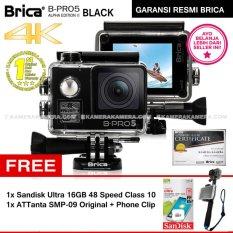 BRICA B-PRO 5 Alpha Edition 2 (AE2) 4K BLACK + Sandisk Ultra 16GB Speed 48 Class 10 + ATTanta SMP-09 Original + Phone Clip