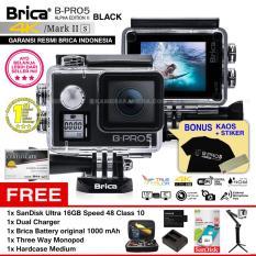 BRICA B-PRO 5 Alpha Edition Mark IIs (AE2s) WIFI 4K BLACK + 3 Way Monopod + Battery Brica 1000mAh + Dual Charger + SanDisk 16GB Class 10 + Hardcase Medium + Kaos Brica + Sticker BPRO5