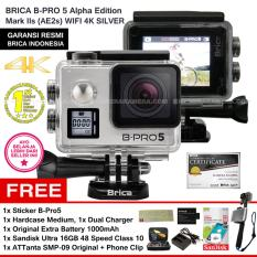 BRICA B-Pro5 Alpha Edition 4K Mark IIs (AE2s) SILVER + Sticker B-Pro + Sandisk Ultra 16Gb Speed48 Class10 + Tongsis Attanta SMP-09 Original + Phone Clip + Battery 1000 mAh + Charger + Hardcase Medium