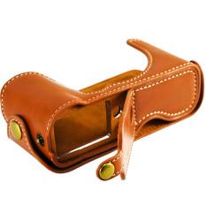 Brown Leather Half Bag Cover Base For Fujifilm Fuji X-M1 X-A1 XM1XA1