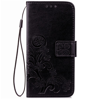 BYT Flower Debossed Leather Flip Cover Case for Samsung Galaxy J3Pro J3110 (Black)