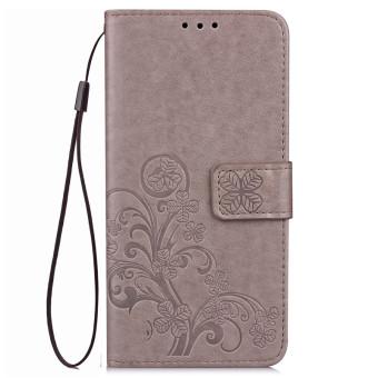 BYT Flower Debossed Leather Flip Cover Case for Samsung Galaxy J5J510 2016 (Grey)