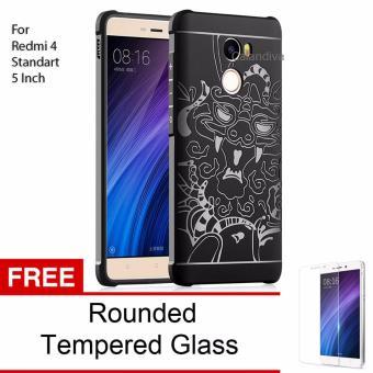 Calandiva Dragon Shockproof Hybrid Case for Xiaomi Redmi 4 - Hitam + Gratis Rounded Tempered Glass
