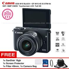 Canon EOS M10 (Black) + EF-M15-45 IS STM Kit Wifi 18MP CMOS Touchscreen LCD Full HD + SanDisk 16GB + Screen Protector + Filter 49mm + Camera Bag