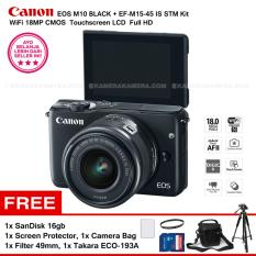 Canon EOS M10 (Black) + EF-M15-45 IS STM Kit Wifi 18MP CMOS Touchscreen LCD Full HD + SanDisk 16GB + Screen Protector + Filter 49mm + Camera Bag + Takara ECO-193A