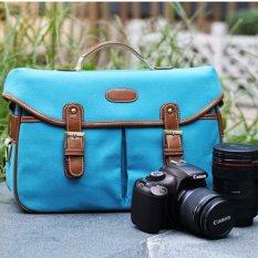 Canvas Enhanced Shoulder Bag Case Pouch For SLR Camera Camcorder - Blue (L) (Intl)