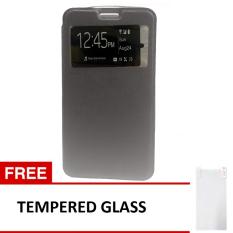 Case Flip Leather Cover for Xiaomi Mi4C - Hitam + Gratis Tempered Glass
