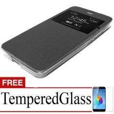 Case Flipcover For Samsung Galaxy J7 + Free Temperedglass - Black