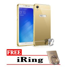 Case For Oppo Neo 9 / A37 Bumper Slide Mirror - Gold + Free iRing(Gold)