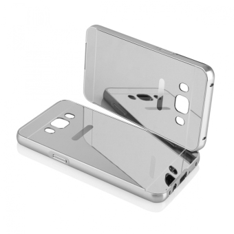 Case for Samsung Galaxy J5 2016 (J510) Aluminium Bumper With MirrorBackdoor Slide - Silver