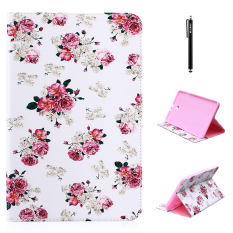 Case for Samsung Galaxy Tab E 9.6 inch SM-T560 PU Leather Flip Folio Case with Stand Function - Flower - intl
