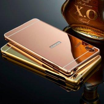 Case For Sony Xperia M4 Aqua Alumunium Bumper With Mirror Backdoor Slide - Rose Gold +