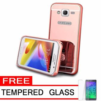 Case Metal for Samsung Galaxy J2 Prime Aluminium Bumper With MirrorBackdoor Slide - Rose Gold + Free Tempered Glass