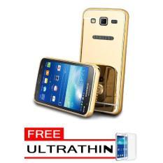 Case Metal Samsung Galaxy Core 2 Bumper Mirror Slide - Gold + Free Ultrathin (Gold