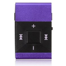 Clip Metal USB MP3 Music Media Player Support 2-16GB Micro SD TF + Headphone (Purple)