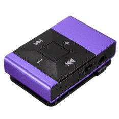 Clip Metal USB MP3 Music Media Player Support 2-16GB Micro SD TF + Headphone Purple