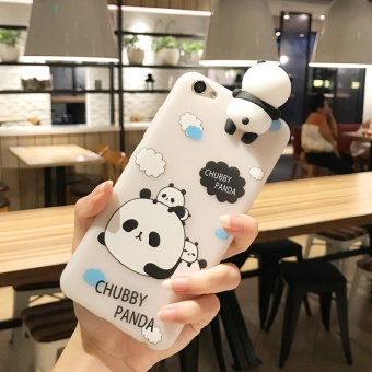 Cute Girls Lovely Catoon Case 3D Lay Chubby Panda Doll Toy Candy Soft TPU Cover for