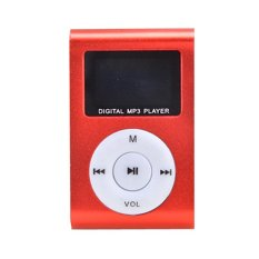 Cyber Red Mini Player Clip USB FM Radio LCD Screen Support For 32GB Micro SD