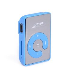 Sunweb Black Mini Clip Mp3 Player / Sport Mirror Mp3 Sd / Tf Card C Button Mp3 Music Media (Blue) (Intl)