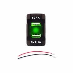 DC 12V 24V 2.1A Dual USB Port LED Car Charger Socket Power Adapter For HONDA