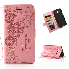Diamonds Leather PU Case Flip Stand Cover for Samsung Galaxy J5 (2016) J510 (Pink)