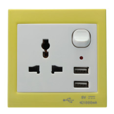 Double 2 USB Ports Wall Charger Socket Outlet Plug Switch Adapter Yellow