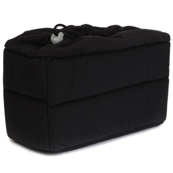 DSLR SLR Camera Lens Case Insert Cushion Partition Flexible Padded Bag Divider (Black)