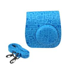 Emboss Pink PU Leather Camera Case Bag For FUJIFILM Instax Mini8 Mini8s (Blue) (Intl)