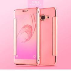 Executive Chanel Case Samsung Galaxy J7 Prime Flipcase Flip Mirror Cover S View Transparan Auto Lock Casing Hp- ROSE GOLD