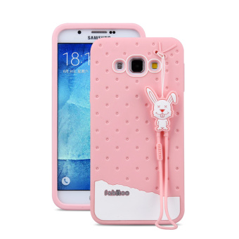 Fabitoo Cute ice cream silicone back cover case For Samsung GalxayA8 With lanyard -Pink Color