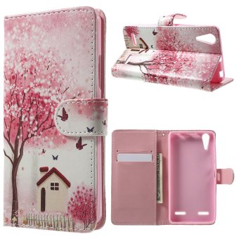 Jual Flowering Tree And House Illustration Pattern Leather Flip Cover For Lenovo A6000 / A6000 Plus