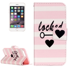 For IPhone 7 Plus Painting Pink And White Stripes Locked Pattern Horizontal Flip Leather Case With Holder and Card Slots and Wallet - intl