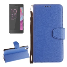 For Sony Xperia X Performance Litchi Texture Horizontal Flip PU Leather Case With Holder and Card Slots and Wallet and Photo Frame and Lanyard(Blue) - intl