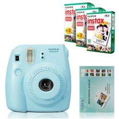 Fujifilm Instax Mini 8 Instant Camera (Blue) + Fuji White Edge Instant 50 Film + Hanging Wall Album (Intl)