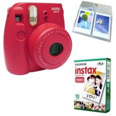 Fujifilm Instax Mini 8 Instant Camera (Raspberry) + Fuji White Edge Instant 10 Film + Hanging Wall Album (Intl)