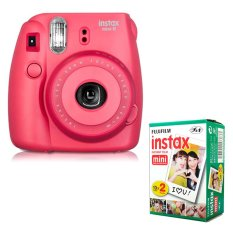 Fujifilm Instax Mini 8 Instant Camera (Raspberry) + Fuji White Edge Instant 20 Film